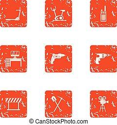 pracujący, powierzchnia, ikony, komplet, grunge, styl