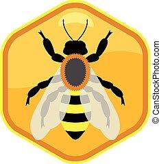 pracujący, symbol, pszczoła, jednorazowy, wektor, honeycell