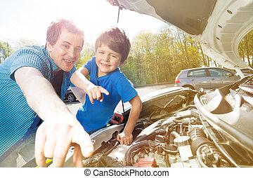 pracujący, wóz, ojciec, mechanizm, syn, szczęśliwy
