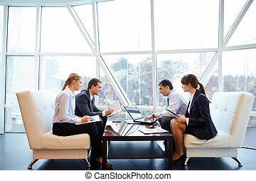 pracujący, w, biuro