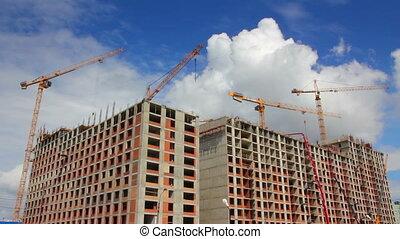 pracujący, zbudowanie, żurawie, -, timelapse