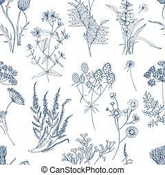 pradera, azul, estilo, pauta tela, seamless, fondo., ...
