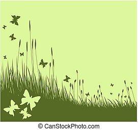 pradera, con, butterflies.