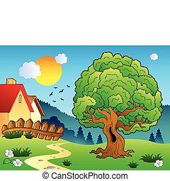 pradera, con, grande, árbol frondoso