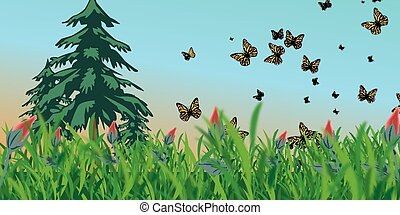 pradera, con, mariposas