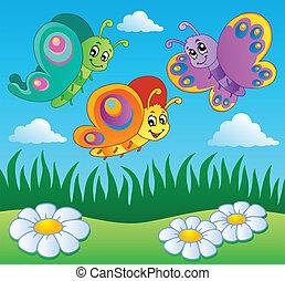 pradera, con, mariposas, tema, 1