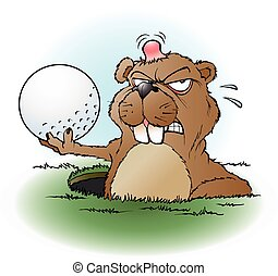 pradera, enojado, golf, perro, pelota