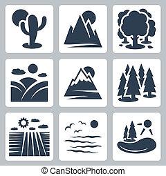 pradera, nieve -covered, naturaleza, iconos, lago, conífera, bosque, vector, montañas, campo, mar, desierto, set: