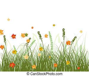 pradera, otoño, plano de fondo