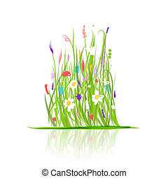 pradera verde, para, su, diseño