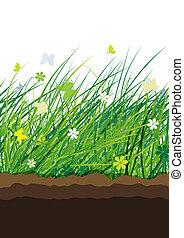 pradera verde, seamless, patrón, para, su, diseño
