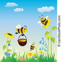 pradera, y, abejas