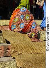 pradesh, varanasi, femmes, uttar, indien, national, india., vêtements