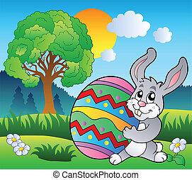 prado, com, árvore, e, bunny easter