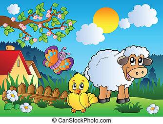 prado, com, feliz, primavera, animais