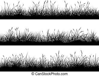 prado, grass., alto, silhuetas, bandeiras horizontais