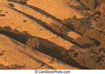 prado, hiking, através, montanhoso, pôr do sol, caminho