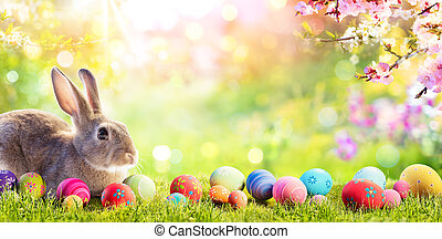 prado, ovos páscoa, florais, adorável, coelhinho