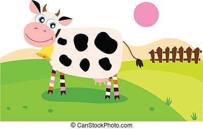 prado, vaca, feliz