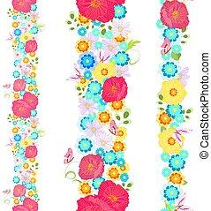 prado, vertical, seamless, cobrança, fronteiras, flores