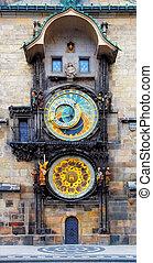 prag, astronomischer taktgeber, (orloj), in, der, alte...