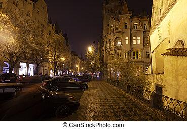 prag, in, night., czechia