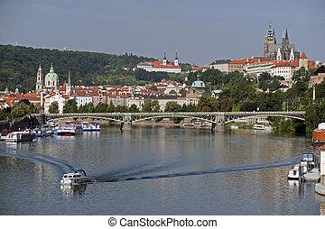 prag, panorama, hos, flod vltava