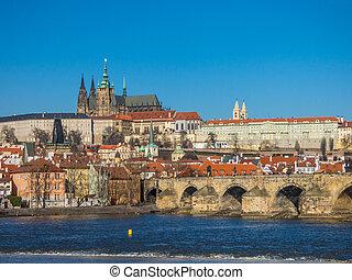 prag, panorama, mit, vltava fluß, tschechische republik