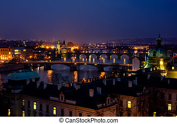 praga, briges, noc, panorama