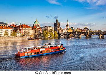 praga, ceco, republic., ponte charles, barca, crociera, su, fiume vltava