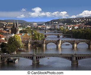 praga, -, contorno, con, río vltava, puentes
