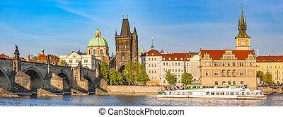 praga, czeski, republic., charles most, łódka, rejs, na, vltava, river., rocznik wina