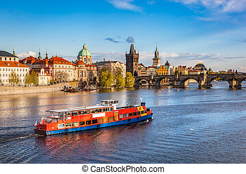 praga, czeski, republic., charles most, łódka, rejs, na, vltava rzeka