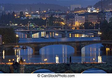 praga, fiume vltava, con, ponte charles