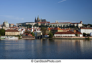 praga, -, hradcany, panorama, con, s. catedral vitus, y, río vltava