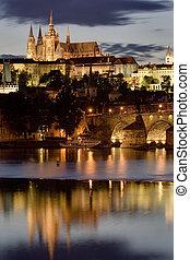 praga, notte, castello