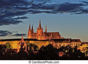 praga, notte, castello, vista