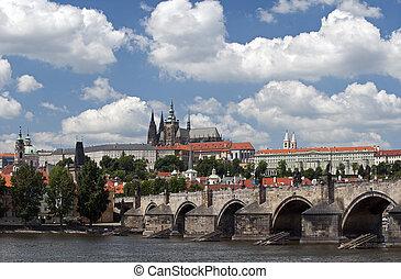 praga, panorama, con, el castillo, y, s. catedral vitus