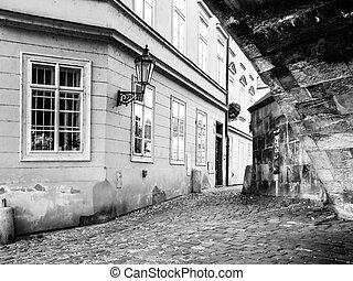 praga, pueblo viejo, nooks, en, negro y blanco, república checa