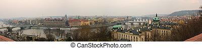 praga, pueblo viejo, vltava, y, puentes, panoranic, vista