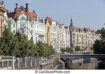 praga, -, puerto, con, edificios históricos, y, puente