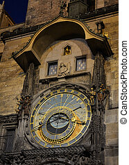 praga, reloj, astronómico, noche