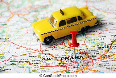praga, repubblica ceca, mappa, tassì
