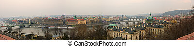 praga, vecchia città, vltava, e, ponti, panoranic, vista