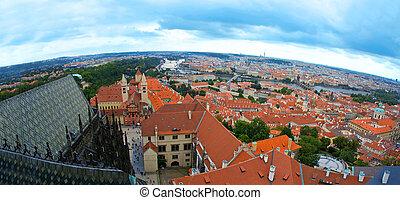 Prague aerial view of hradcany.