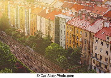 Prague, Aerial View of Vysehrad Buildings