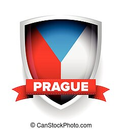 Prague and Czech republic flag shield