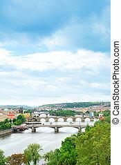 Prague and its multiple bridges across Vltava river, Czech Republic