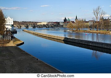 Prague and its old houses, Vltava river and bridges