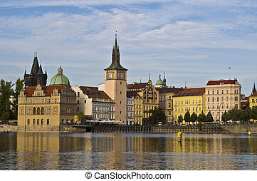 view from the vltava island to the old center of Prague